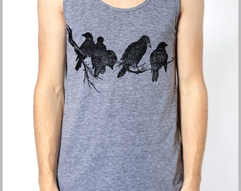 Birds Graphic Tank Top Men's Women's Block Style Print Tank American Apparel summer clothes nature on a limb Tank Top