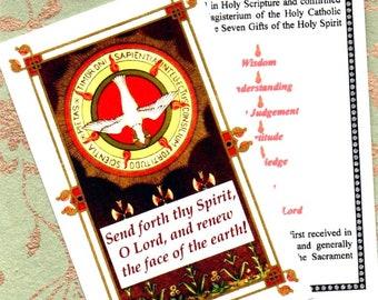 HOLY SPIRIT GIFTS beautiful Traditional Catholic laminated English language prayer card. ***Free worldwide postage included***