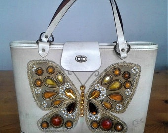 """Vintage 1960's Enid Collins Of Texas Original Hand bag Or Purse """"Flutter Byes"""" With Jewels"""