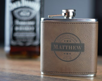Dark Brown Leather Flask- Groomsman Flask- Personalized Flask- Personalized Groomsmen Flask- Leather Wrapped Flask- Personalized Hip Flask