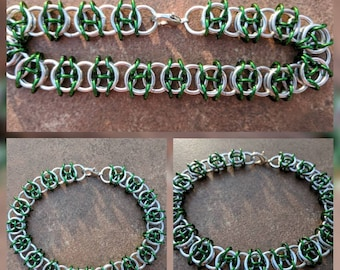 Celtic Visions Bright Silver and Green Aluminum Chainmaille Bracelet