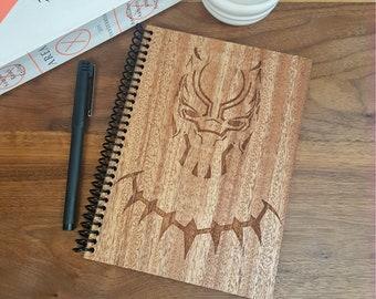 Marvel Black Panther Wood Notebook - Laser Engraved Hardwood Planner Journal - T'Challa Wakanda