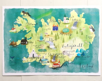 Illustrated map of Iceland - A3/A2 Print - Watercolour