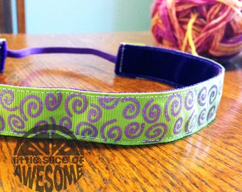 NOODLE HUGGER Non slip ribbon headband - lime with purple sparkle swirls - 7/8 inch (for running, working out, and everyday)