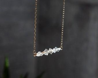 Herkimer Diamond Necklace Gold Filled Herkimer Diamond Bar Necklace, Herkimer Diamond Jewelry Diamond April Birthstone Necklace Gift for Her