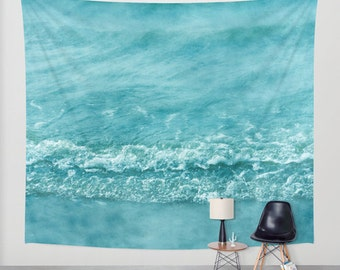 Ocean Wall Tapestry. Home Decor. Photo tapestry, dreamy tapestry mint decor abstract nursery decor mint sea blue