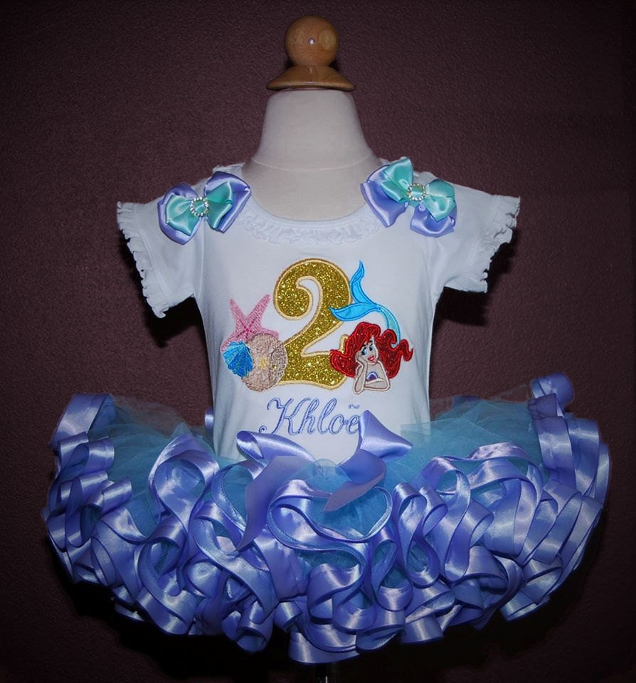 e8ad90ff52847 little mermaid birthday outfit 2nd birthday girl outfit Ariel shirt  personalized second birthday girl outfit cake smash outfit girl tutu