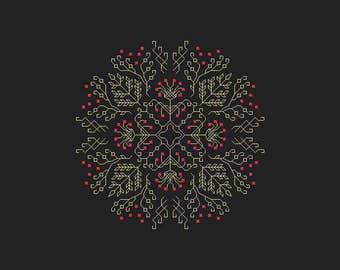 Red Berries Ornament Cross Stitch Pattern PDF Instant Download Ornament design