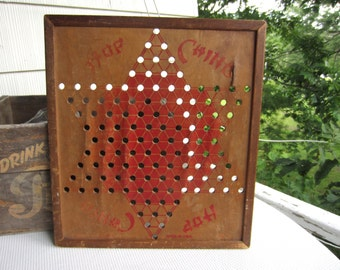 Vintage Hop Ching Wooden Chinese Checker Board Playful Wall Decor