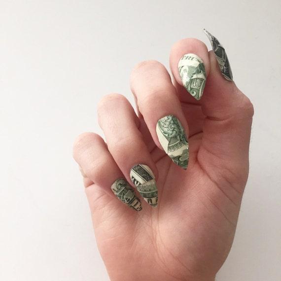 Dollar Bill Nails Set Of 10 Money Nails Fake Nails