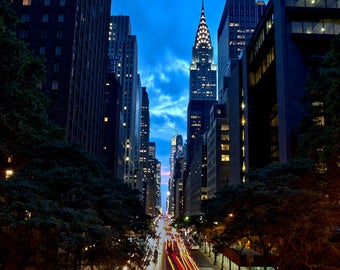 "New York City Photograph, 42nd Street, Chrysler Building, Color Photography, NYC Photo, Wall Art, Night, Art Print, ""42nd Street Night"""