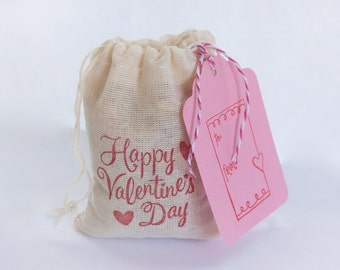 Valentine's Day Bag with Tag Set 6 muslin cotton favor bag with stamp goodies treat bag