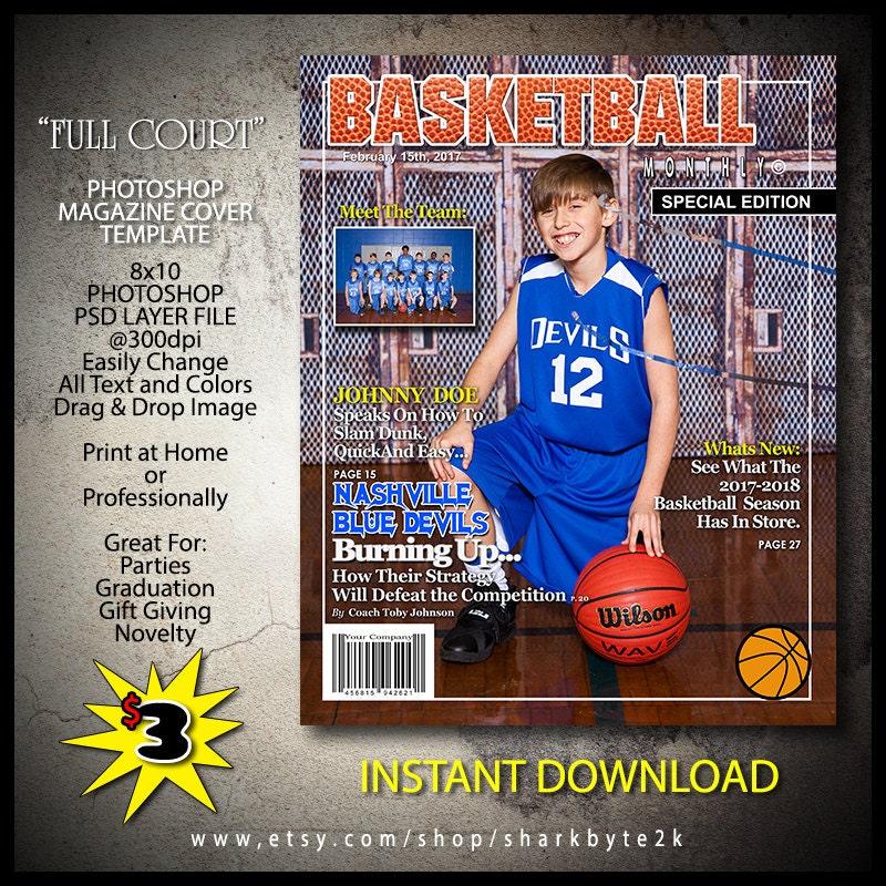 Couverture du Magazine de basket-ball 2017 modèle Photoshop. 8