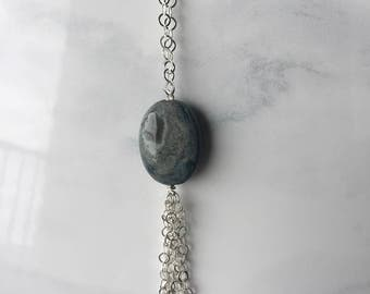 Sterling Silver and Ocean Jasper Gemstone Necklace