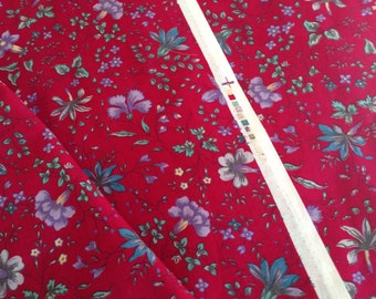 vintage fabric, Laura Ashley fabric, red floral cotton fabric, 4 yards in 2 pieces
