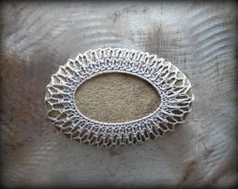 Home Decor, Crochet Lace Stone, Table Decoration, Nature, Handmade, Original, Light Gray Thread, Oval Stone, Monicaj