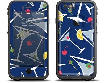 The Blue Martini Drinks With Lemons Apple iPhone X - 7 - 8 - LifeProof Case Skin Set (Other Models Available!)