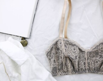 GRAMERCY Grey and Peach Lace Bralette, Handmade to Lingerie Order