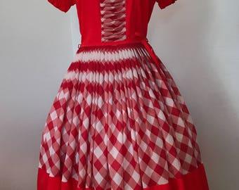 Vintage 60s DeLoris Western Square Dance Dress S