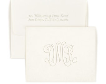 50 Beautiful Embossed monogram notes with matching envelopes