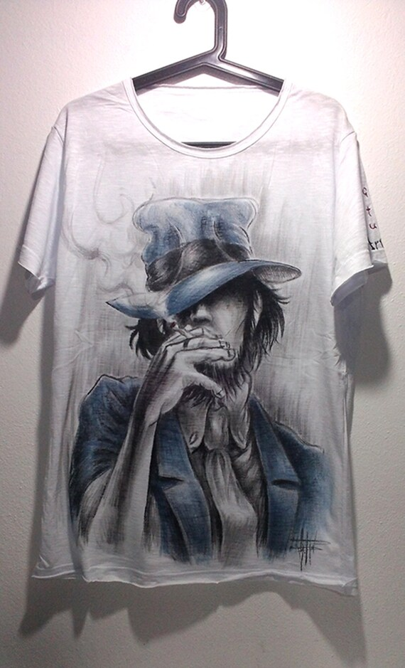 Handpainted t-shirt Jigen tee Handmade tshirts Painted shirt Personalized Gift Made in Italy Customize Cartoon t Shirt Funny tshirts eD4DNJz