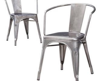 Custom Tolix Style Arm Chair in Gunmetal, Black, White or Vintage Gunmetal