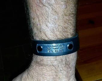 Men's Genuine Leather Cuff, Customized Leather Cuff, Personalize Metal Tag