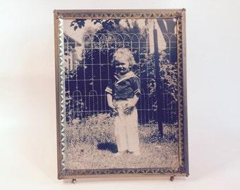 Vintage Photo of Sailor Boy In Ornate Brass Frame/Vintage Photo Of Boy/Vintage Frame/Vintage Photo