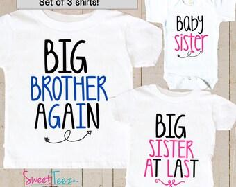 Big Brother Again Shirt SET of 3 Baby Sister Big Sister At Last Arrow Hip Sibling Big Brother Shirts bodysuit SET