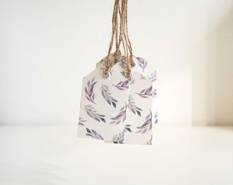 Leaf Print Gift Tags | Pack of 5 | Floral Gift Tags | Purple and Blue Leaf Print