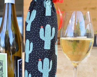 BYO Wine bag, Cactus fabric cooler tote, gift for hostess, insulated bag, gift for him