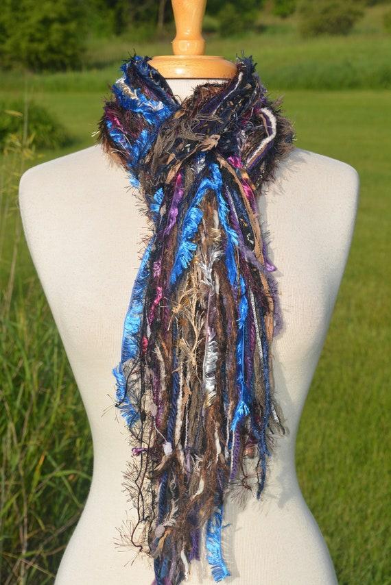Long Fringie in Cool Jewel, Fringe Scarf, Handmade hand-tied art yarn scarf in blue black purple, bohemian, gifts, long scarf, ribbon scarf