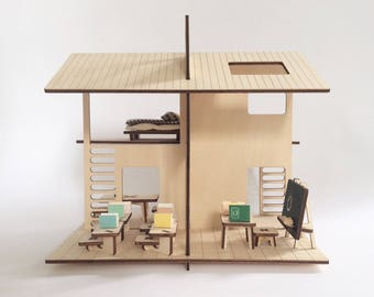 Wooden doll's house with roof