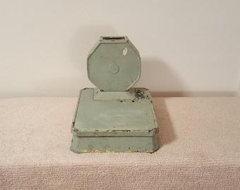 Vintage Green Cast Iron Detecto LowBoy Bathroom Medical Scale Farmhouse Chippy Paint Shabby Chic Art Deco Decor