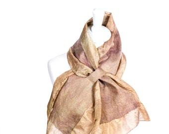 silk Scarf, seda, seide, small scarf, kate ramsey, felted scarf, felt and silk scarf, skinny scarf, bow tie scarf, stylish scarf