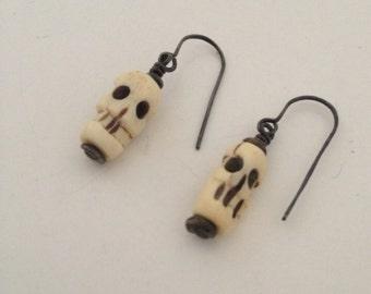 Skull Carved Bone Earrings, Sterling Silver