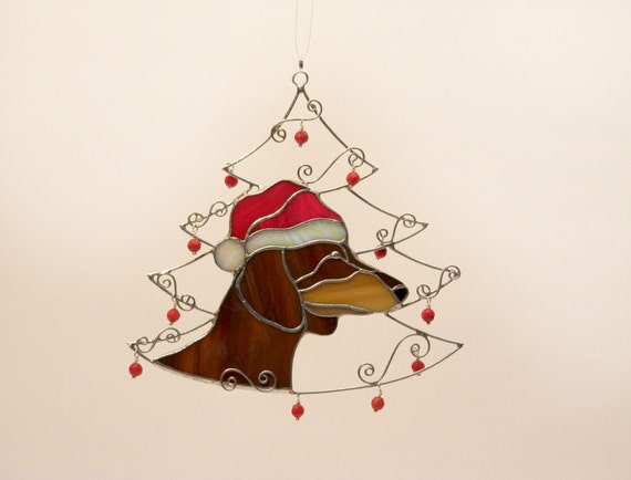 christmas tree ornament dachshund xmas decorations stained