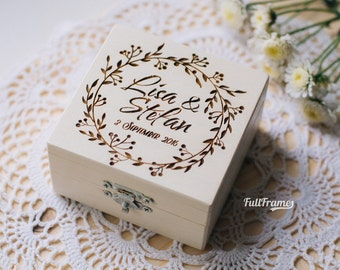 Wedding Ring Box For Ceremony / Ring Box for Wedding in White Color / Wedding Engraved Ceremony Box / Personalized Wedding Ring Box