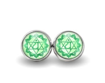 Heart Chakra Stud Earrings | Boho Earrings Chakra Jewelry Chakra Earrings Yoga Earrings Green Chakra Meditation Jewelry Anahata Chakra