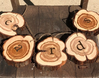 Rustic Cards Sign, Hanging Sign for cards with rustic cedar wood slices, for wedding, party, event