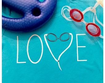 Women's Love to Swim Goggles T-shirt, Swimming Gift, Gift for Swimmer, Triathlon Gift
