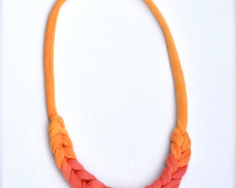 Ombre Fabric Necklace - Orange Tangerine and Poppy Red - Recycled Statement Jewelry