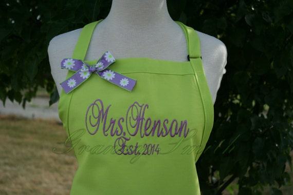 """The """"Mrs"""" Apron with """"Estd. date"""" & NO Pockets your color choice bow or not (28""""L x 24""""W) lavander, beach, island, , pastel, picnic, family"""