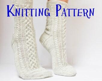 Knit sock pattern etsy instant download pdf knitting pattern cove socks womens cabled sock pattern knit socks dt1010fo