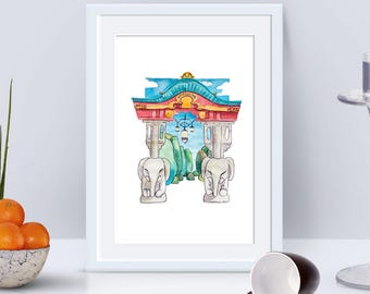 "Berlin Districts ""city views"" No 3 Tiergarten Elephant (digital download, print template), watercolour, illustration"