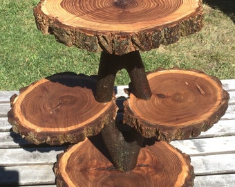 Diamond shape Collapsible Stand Elm Wood Rustic Cake Cupcake Pie Stand Wedding party wooden 4 tier, lumberjack party, wild things are, boho