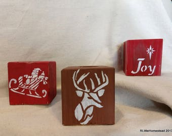 Distressed and  Hand Stenciled Stenciled Tea Candle Holders