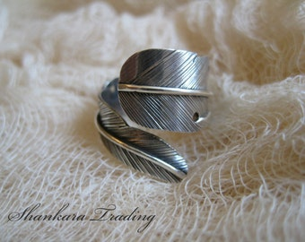 Silver Feather Ring, Adjustable Ring, Sterling Silver Ring, Tribal Ring, Tribal Jewellery