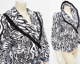 Vintage Blouse, UK8, Statement Clothing, Vintage Top, Animal Print, Power Dressing, Ladies Clothing, Women's Vintage