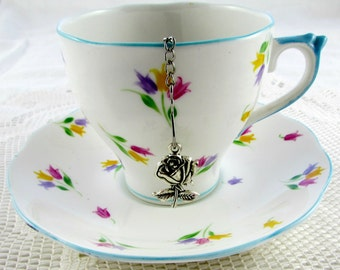 Tea Ball Infuser with Rose Charm for Loose Leaf Tea, Perfect Gift for Tea Lover